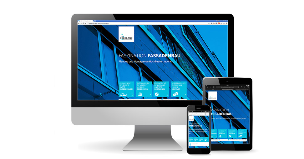 Responsive Website für Oberland Fassadensysteme