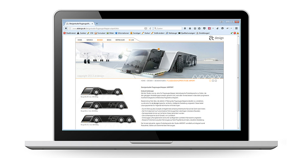 Internetauftritt für die Firma Industriedesign at-design