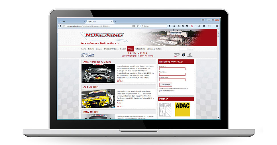 Website für Norisring-Rennen